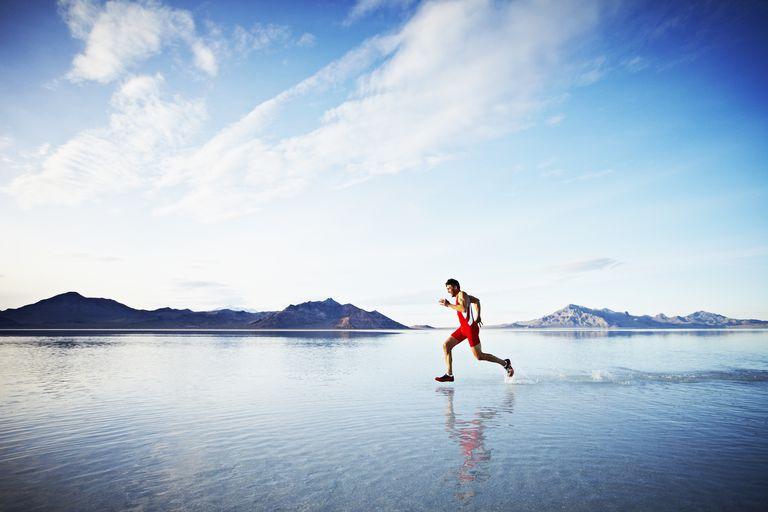 man walking on water